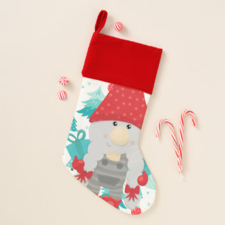Holiday Gnome with gifts Christmas Stocking