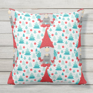 Holiday Gnome with gifts Outdoor Pillow