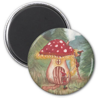 Holiday Gnomes and Mushroom Home 2 Inch Round Magnet