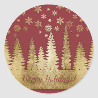 Holiday Gold and Red Winter Wonderland Classic Round Sticker