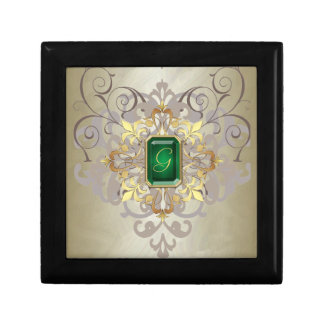 Holiday Gold Foil Gold Scroll Jewel Large Gift Box