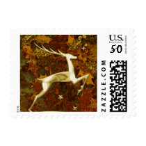Holiday Gold Reindeer and Red and Gold Holly Postage