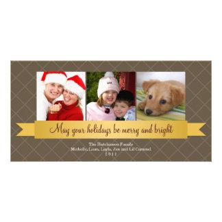 Holiday gold satin ribbon brown lattice greeting card