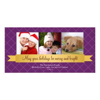 Holiday gold satin ribbon purple lattice greeting photo card