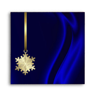Holiday Gold Snowflake BLue Christmas Envelope