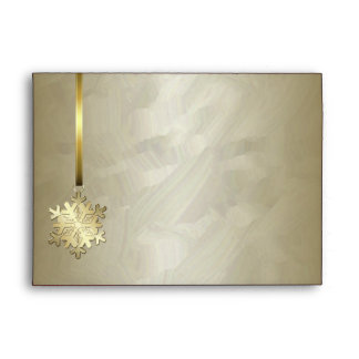 Holiday Gold Snowflake Gold Foil 5x7 Envelope