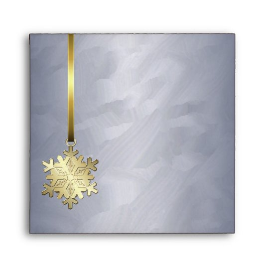 Holiday Gold Snowflake Silver Foil Christmas Envelope