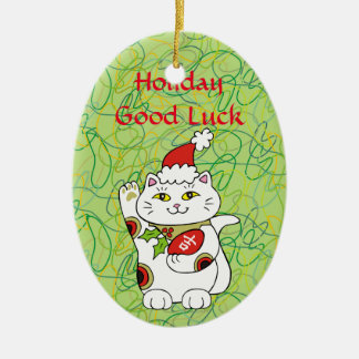 Holiday Good Luck Ceramic Ornament