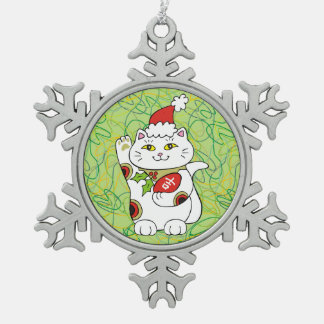 Holiday Good Luck Snowflake Pewter Christmas Ornament