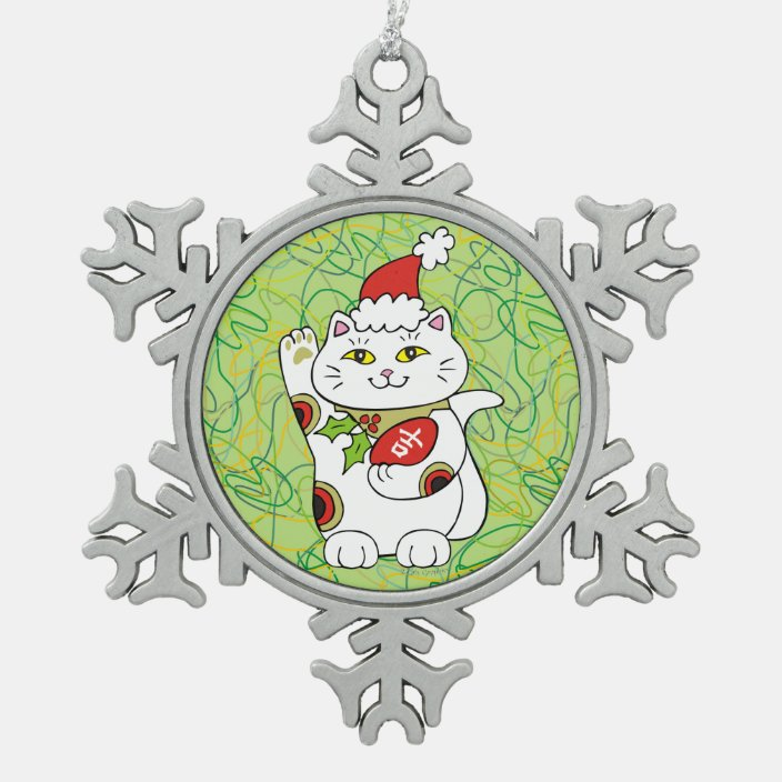 Holiday Good Luck Snowflake Pewter Christmas Ornament Zazzle Com