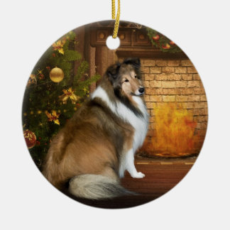 """Holiday """"Grace"""" Sheltie Double-Sided Ceramic Round Christmas Ornament"""