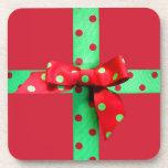 Holiday Green and Red Polka Dot Ribbon Coaster