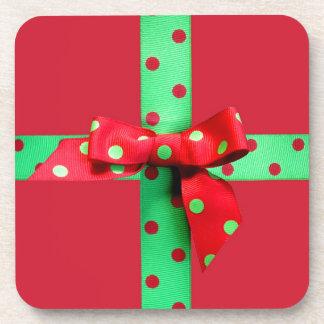 Holiday Green and Red Polka Dot Ribbon Drink Coaster