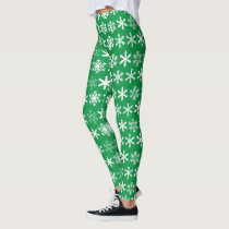 Holiday Green and White Snowflake Leggings