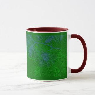 Holiday Green Blue Pine Pattern Mug