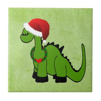 Holiday Green Dinosaur Ceramic Tile