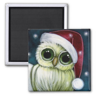 HOLIDAY GREEN OWL WITH SANTA HAT Magnet