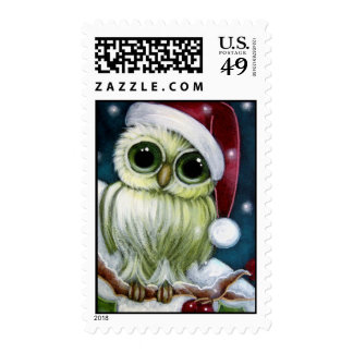 HOLIDAY GREEN OWL WITH SANTA HAT Postage