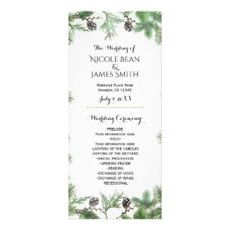 Holiday Green & Pine Cones Country Wedding Program