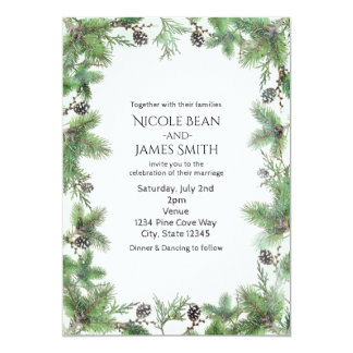 Holiday Green & Pine Cones Country Winter Wedding Invitation