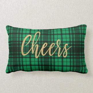 Holiday Green Plaid Cheers Lumbar Pillow
