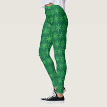 Holiday Green Snowflake Leggings