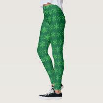 Holiday Green Snowflake Leggings