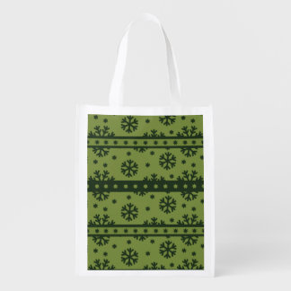 Holiday Green Snowflakes Pattern Market Tote