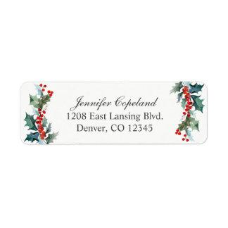 Holiday Greenery Watercolor Botanical Label