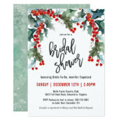 Holiday Greenery Watercolor Bridal Shower Invitation