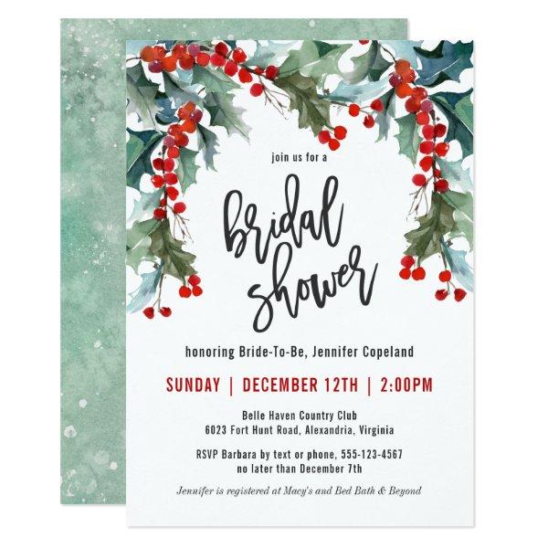 Holiday Greenery Watercolor Bridal Shower Invitation