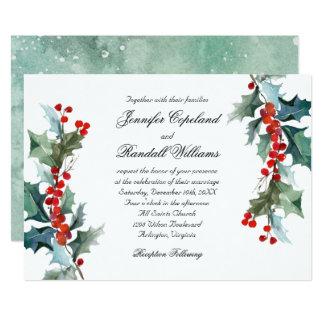 Holiday Greenery Watercolor Wedding Card