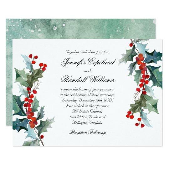 Holiday Greenery Watercolor Wedding Invitation