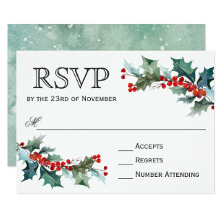 Holiday Greenery Watercolor Wedding RSVP Card