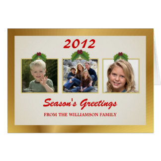 Holiday Greeting 3-Photo Template Cards