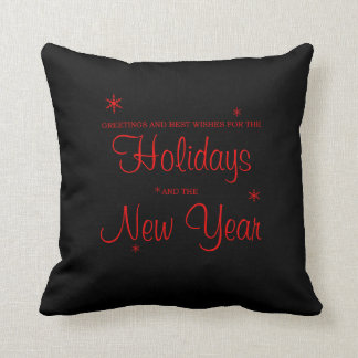 Holiday Greeting Black and Red Christmas Pillow