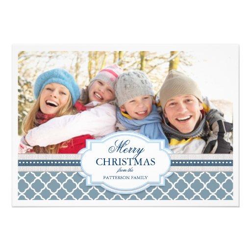 Holiday Greeting Blue & White Elegant Photo Card