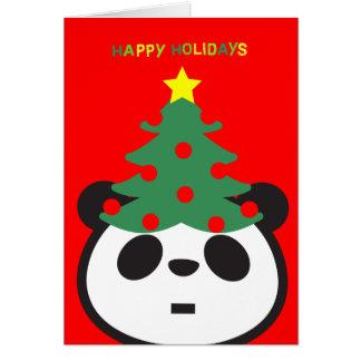 Holiday Greeting Card - Panda Tree