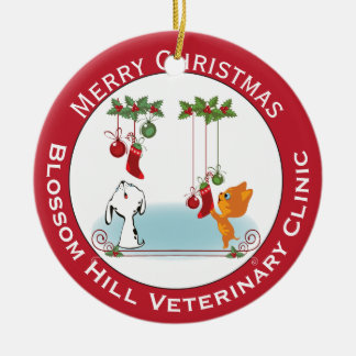 Holiday Greeting Pets From Your Veterinary Clinic Ceramic Ornament