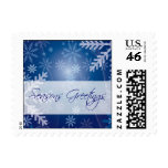 Holiday Greeting Postage Stamp Blue Snowflakes