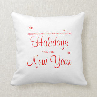Holiday Greeting Red and White Christmas Pillow