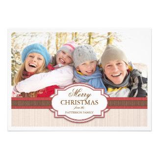 Holiday Greeting Red Tan Elegant Photo Card
