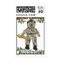 Holiday Greetings-Army Bear Postage
