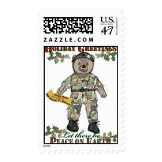 Holiday Greetings-Army Bear Stamp