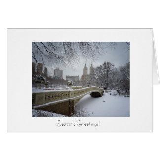 Holiday Greetings - Bow Bridge- Central Park Greeting Card