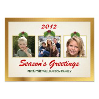 Holiday Greetings Family 3-Photo Flat Card