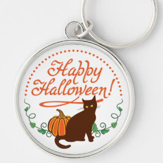 Holiday greetings from black cat keychain