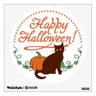 Holiday greetings from black cat wall sticker
