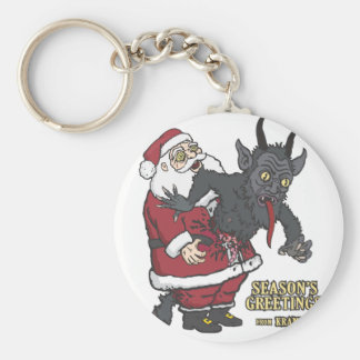 Holiday Greetings from Krampus (and Santa) Basic Round Button Keychain