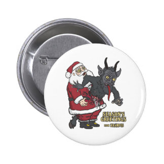Holiday Greetings from Krampus (and Santa) Pinback Buttons